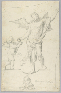 A putto reached for the hand of a grown angel. Below, a mother pelican feeds three young. Subject: the love of god.