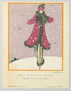 In a snowy outdoor scene, a figure of a woman stands shivering in a fur-trimmed pink and red patterned coat with matching fur hat. Underneath she dons a brown and cream striped fur-trimmed floor-length skirt and matching shoes. All around her snow falls; birds flying, mountain peaks in the distance.