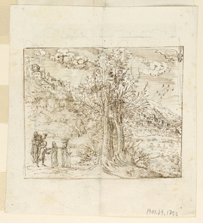 At the center of a landscape if a cluster of trees whose trunks are filled with hatching lines. At left is a group of figures, one who wears a basket on her head. In the background, a town on a steep incline, rising to the left. Clouds in the sky.