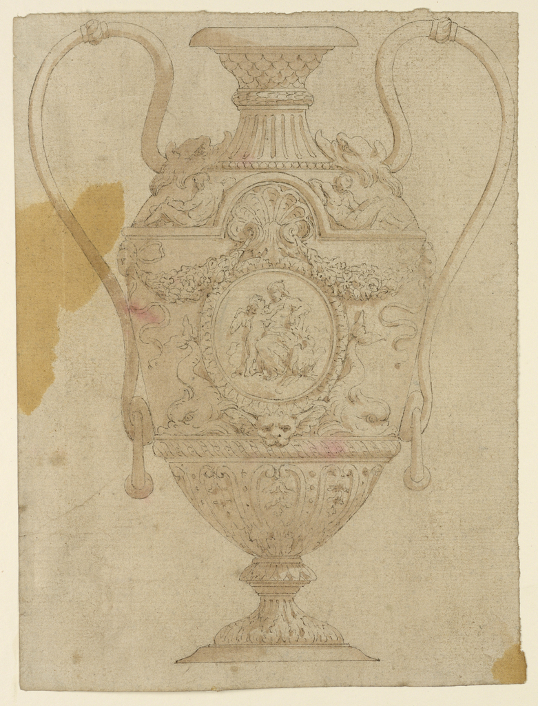Vertical rectangle showing a vase decorated in the classical style, with ignudi, swags and dolphins.