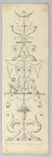 Candelabrum design. At the bottom are two paw feet, from which a vase grows. Above this are two seated satyrs. Dolphins and vases above