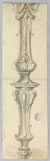 Elevation shown. Handle consists of leaf scroll, a shell suspended from a capital. The bottom part of the shaft consists of a high bracket with an escutcheon between scrolls. A baluster with floral decoration rises at top.