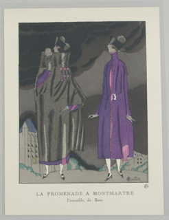 The caption reads: La Promendae a Montmartre / Ensemble, de Beer.  Center two women stand under and ominous sky filled with black clouds.  Center left a woman stand smeeling a rose wearing a large black coat over a pink and purple dress with black and white shoes.  To her right a woman stands wearing a matching pink and purple dress with high collar and thick belted waist.  Behind the woman is a small town with buidlings that range in size.