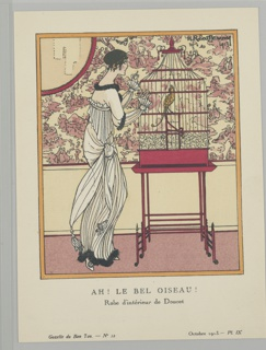 The caption reads: AH! LE BEL OISEAU! / Robe d'intérieur de Doucet. Center a woman peers inside a birdcage. She wears a white pleated evning dress with a sash knotted at her waste and black fur trim along the neck, sleeves, and skirt.