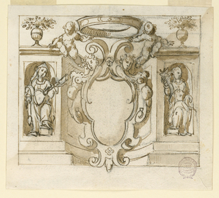At center, a crowned escutcheon with pairs of putti and caryatids. On either side, figures in sculpture niches. Above, two floral vases.