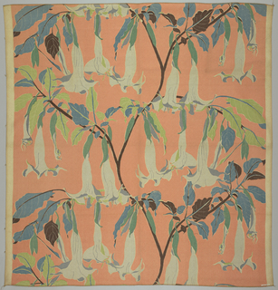 Design formed of branches and flowers of the trumpet vine in blue, green, gray and black on a peach ground.