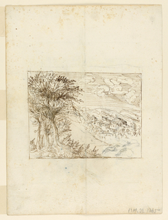 View of a valley with a town. A group of trees in the foreground. Verso: scrollwork frames an oval reserve.