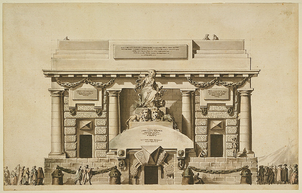 "Elevation of a building reminiscent of a prison with a square plan and flat roof or terrace. Three small figures can be seen standing there.  The building has rusticated walls and four Doric columns on the front facade.  There are three small entrances to the building.  The one in the center is at the base level while the two side entrances are elevated from the ground by a high foundation.  A large panel with an inscription is placed on the side of the terrace's balustrade.  Positioned against the main facade, at the center, is a sculptural grouping of ""Justice.""  It is placed directly above the central doorway.  Crowds of people surround the structure, and isolated persons or couples are dispersed elsewhere."