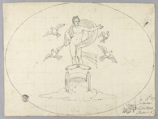 Within in oval on gridded paper, a contour drawing on Venus on a chariot surrounded by doves in flight.