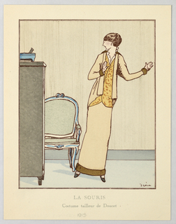 In an interior scene, a figure of a woman wearing fur detailed suit with white frilled chemise and yellow buttoned vest stands with hands up at her sides. A small mouse stands atop a dresser at left, spooking the young woman. Between the figures, a chair.