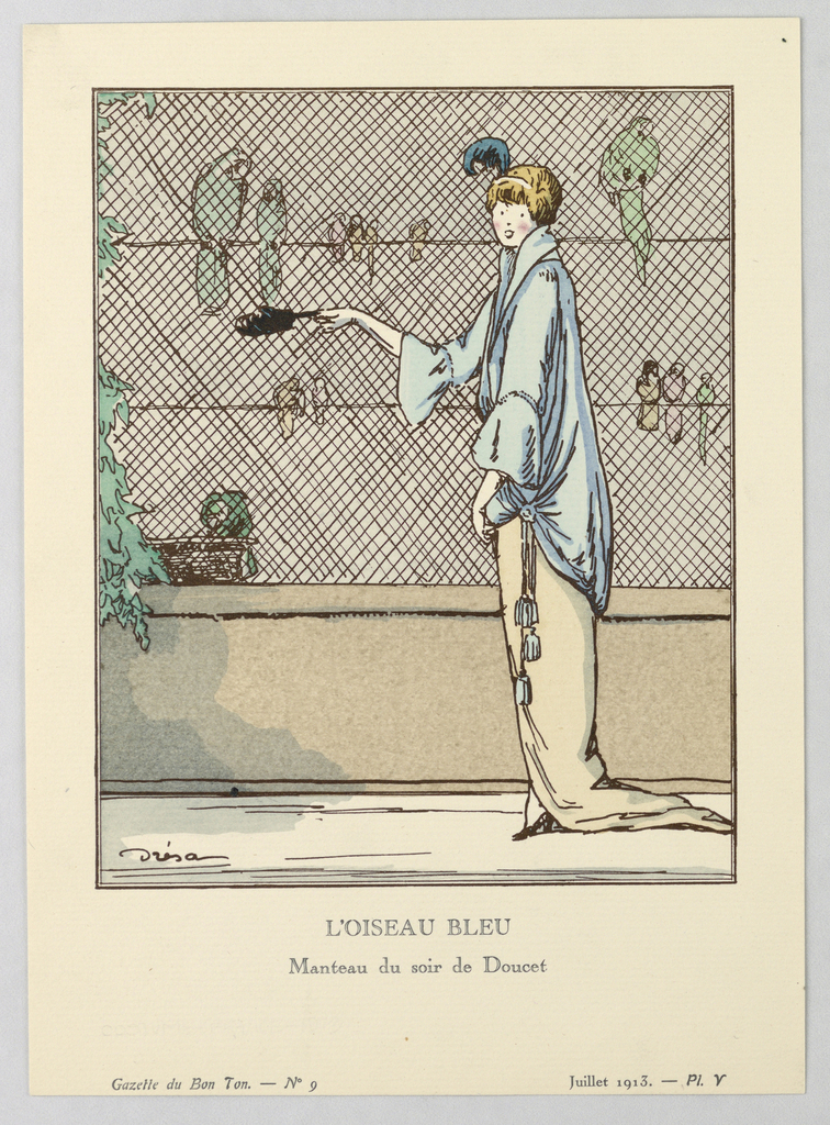 At right, a figure of a woman in draped pale blue coat with cinched bell-sleeves and side gathering with tassles wears single blue feathered headband. She looks off to the side as she feeds the parrots behind a cage.