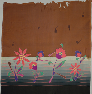 Printed panel with a whimsical arrangement of multicolored flowers and musical notes on a horizontally-striped gradient ground of dark blue into light blue. A brown horizontal band runs across the top.