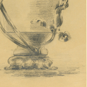 Design for a symmetrical vase, sitting on a raised foot, flaring out from the bottom, narrowing at the neck, topped with a lipped rim. Its ornamentation comprises an asymmetrical composition with three vine-like tendrils rising from the base of the vase, and terminating in lush leaves. One is short; two longer vines rise up the side of the vase, the largest of which leans over the top of the bowl.