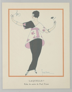 Fashion plate depicting an evening dress by Paul Poiret.  A figure of a woman, in a black dress with a black and white structured bodice accented with pink flowers and a pink belt, stands with her arms extended, holding flowers in each hand (black at right, white at left). The figure is framed in an orange rectangle with the caption beneath.