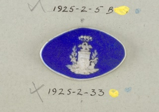 Oval medallion the style of Wedgwood Jasperware; ornamented with love birds on pedestal, bow, arrows, hearts, etc; white on blue ground.