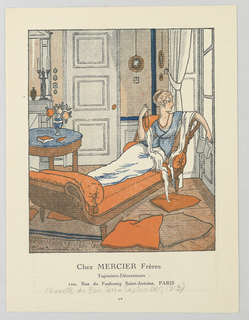 Center a woman reclines on a an orange upholstered day bed in a sitting room, gazing out the window while holding a book she does not read.  She wears a white dressing gown with a matching shawl and blue wrapped short jacket with orange beaded jewelry.