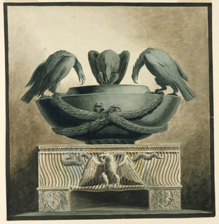 Drawing, Funerary Vessel with Thre, ca. 1800