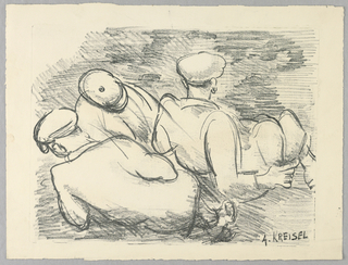 Three reclining figures, with the two in the foreground turned away from the spectator.