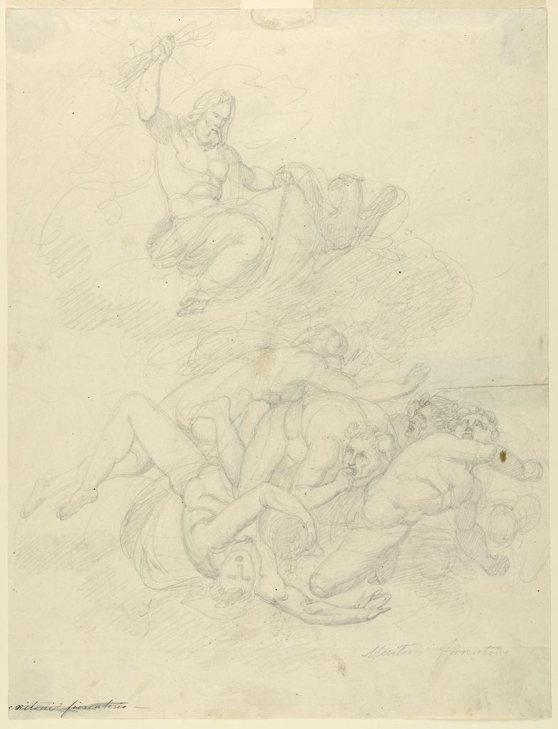 Zeus, brandishing a bundle of lightning and accompanied by an eagle, hovers on a cloud over a group of falling nude figures that appear to be Furies, creatures in Greek mythology that were responsible for exacting divine retribution from those guilty of wrong-doing.