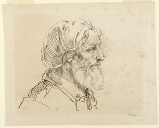 The man, seen in profile, faces right. He wears a cloth head-covering, and has a white beard.