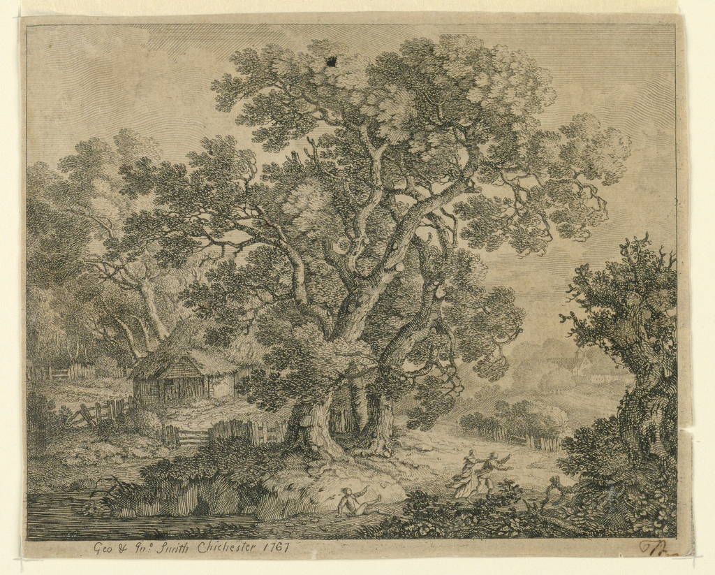 """A stream running below a huge gnarled tree blown by the wind. Three people attempting to run to the right are blown back. A house and more trees beyond. Below, """"Geo. Jn^o Smith Chichester 1767"""" and right, an initial."""