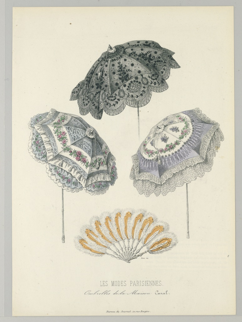 Three designs for parasols. Top center: black and gray lace patterned parasol.  Left center:  blue parasol with a floral garland pattern on a scalloped white strip.  White trim along the bottom and the 2nd tier.  Right center: lilac parasol with white lace trim.  At top white circle with a floral garland within.