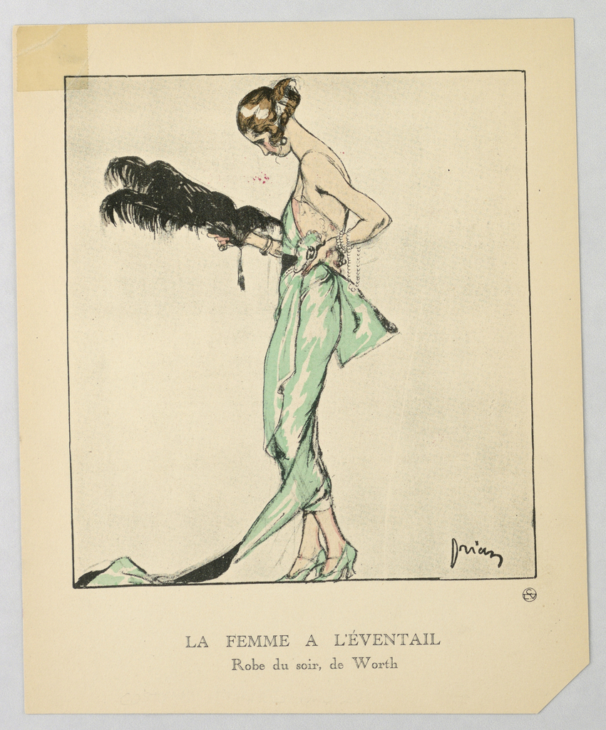 The caption reads: La Femme a L'Éventail / Robe du soir, de Worth. Center woman stands with black plummed feather fan in a form fitting seafoam green evening gown with large bow, wrapped skirt, amd pink lace slip detailing along torso.  She wears matching heels and has a strand of pears wrapped around her left wrist.