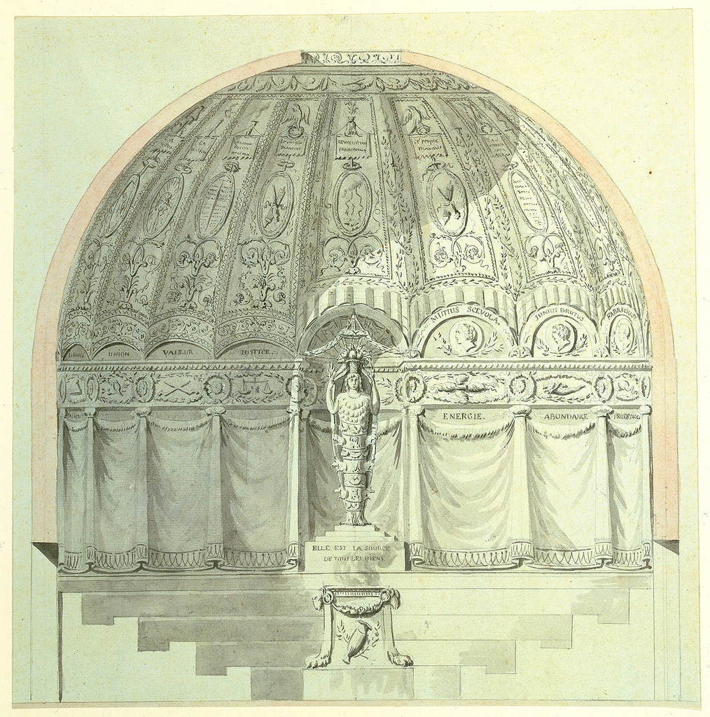 Statue of Nature stands behind a burning brazier.  Behind, a niche simulating the interior of a tent, with an oculus in the center of the roof.  Below, seats arranged in five rows in amphitheatrical form.  Various inscriptions on base of statue and on ornamentation.