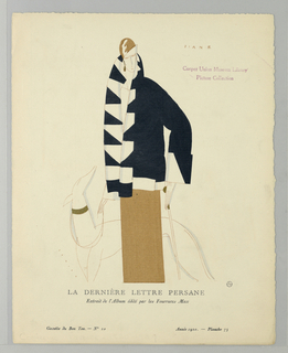 Fashion illustration depicting a woman walking a dog. Holding the leash in her right hand and a cane in her left, she wears an ochre-colored columnar skirt and cloche hat, white blouse, and black and white detailed large coat with standing color and cuffed sleeves. The dog is behind her, gazing up. Printed text below.