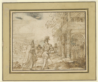 An old man on the left interacts with a youngerman on the right. Behind them is an intricate sketch of a building.