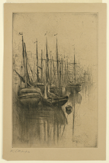 Vertical rectangle. A line of sailing vessels in calm water.  Beyond, between the masts, the bank and the buildings of a town.
