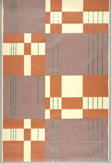 Geometric design of large blocks of color and vertical lines. Colors, (a) lilac, coral, emerald (b) sea foam, ash, ebony (c) driftwood, grout, antique gold.
