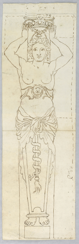Woman with a lion's mask belt supports a capital