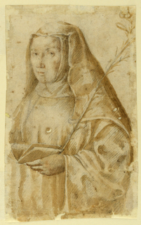 In three-quarter length, a standing portrait of a woman in habit. In her left hand, an open book and lily branch.