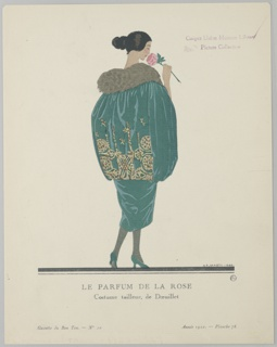 The caption reads: Le Parfum de la Rose / Costume tailleur, de Dœuillet. Center woman stands smelling a rose. Back facing the viewer, she wears a green dress with matching cape detailed with fur collar and gold stitching, grey tights, and green heels.