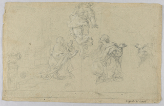 Drawing, Study of Three Figures, 17th-19th century