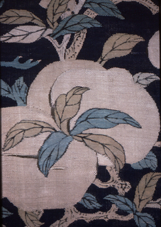 Fruit and flowering trees growing from rocks on a dark blue background.  Two cranes and two bats in sky.  Some painted details.