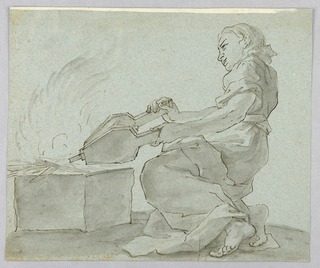 A woman shown in profile, kneeling with bellows.