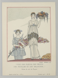 "The caption reads: ""VOICI DES FLEURS, DES FRUITS, DES FEUILLES ET DES BRANCHES…"" Robe du soir de Paquin. Center woman stands in a tiered white Grecian gown with blue floral accents and hanging beads and matching headband.  In her left hand she holds a bowl of assorted fruits. Left bottom, woman in in pale blue tiered gown with winged shoulder piece and matching headband holds a large bouquet of flowers."