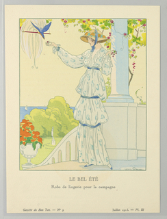In a domestic exterior, figure of a woman stands on a porch overlooking surrounding gardens and ocean. She is feeding a plumed bird and wears a wide-brimmed sun hat with yellow flowers and blue sash and a pale blue patterned dress with ruffled cuffs and collar.  Like her hat, her dress has blue sashes which cinch the voluminous fabric under the bust, at the hips, and again at the knees.