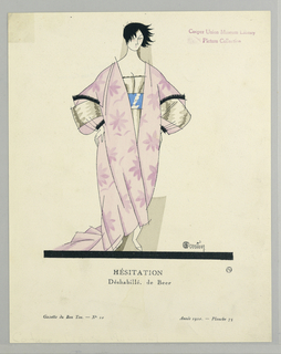 The caption reads: Hésitation / Déshabillé, de Beer. Center woman stands in pink floral kimono-inspired dress with wide sleeves and belted with thick blue sash.  Woman has short cropped black hair and stand with hands on hips.