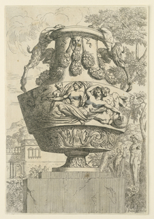 Vase on a base. Handles made of satyrs; frieze of two women and two satyrs, embracing each other. Background with landscape and architecture.