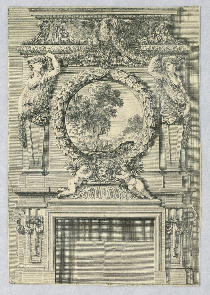 The overmantle shows gaines with half-figures of women holding a garland, which is suspended from the beak of an eagle, and flanking a circular landscape. Two children crouch beside a mask on a pedestal over the opening.