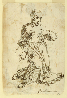 A man kneels, facing right and gestures to his chest.