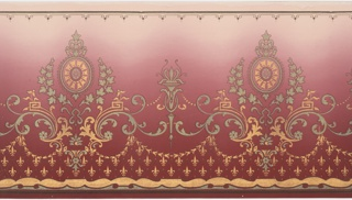 Alternating floral medallions with stylized torches. Linked by foliate scrolls (from which suspend floral swag), beading, and key scrolls. Bottom has stripes and waving bands of scrolls, above which are fleur-de-lis. Top has stripes and scrolls with bell flowers. Ground shades from dark red to pink. Printed in greens, metallic gold, and metallic blue-green.