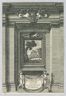 A painting representing a landscape with a castle hangs in the rear of a rectangular niche. Two putti hold a cloth with an inscription.