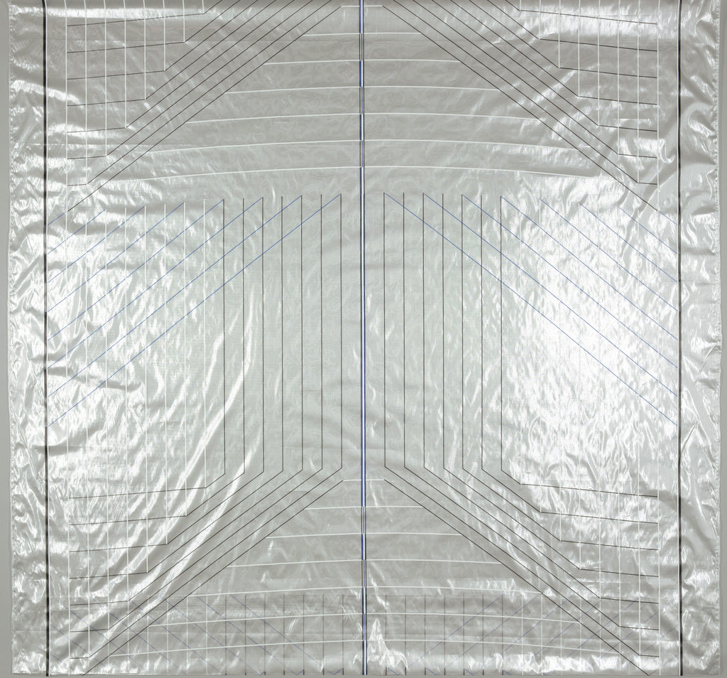 Shiny, sheer fabric with a design of blue, white and black lines.