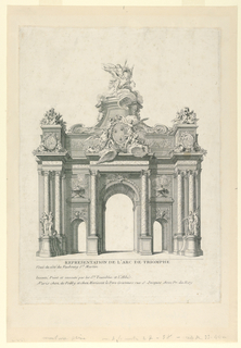 Arch erected on account of a festive happening in the Royal family. Arch with three openings, showing in the center of the attic a royal French coat of arms, animals, and puttos, and on top a statue of a genius on Pegasus.