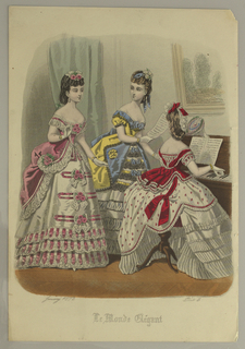 Three young women, the one at right in red and white, at a piano. One at left, in pink and white; center, in gray, blue, and yellow dress with black lace. Title and date below.