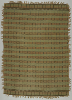 Bands of squares alternately red on brown or green on green connected by rows of diamonds. Narrow band of flowers create borders at top and bottom. Woven tape with two-inch long weft loops for fringe sewn to four sides.
